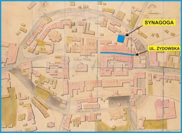 Plan miasta z końca XVIII w., archiwum Muzeum Okręgowego w Tarnowie