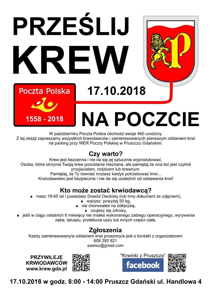 """Pruszcz Gdański: Możesz oddać krew podczas akcji """"Prześlij krew na Poczcie"""". Na krwiodawców czekają upominki"""