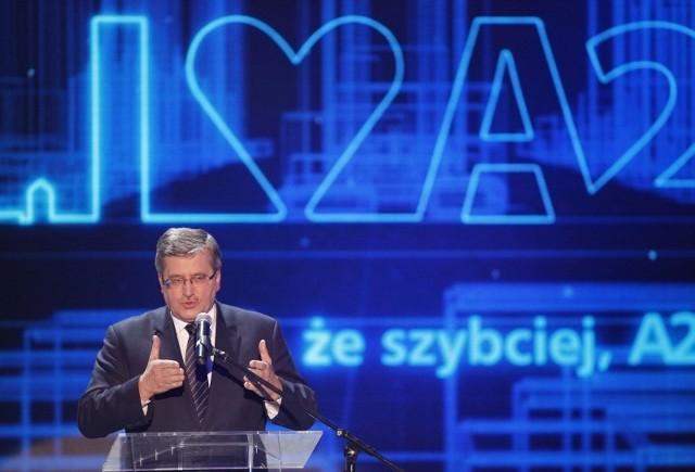Jako jeden z pierwszych nową autostradę przetestował prezydent Bronisław Komorowski