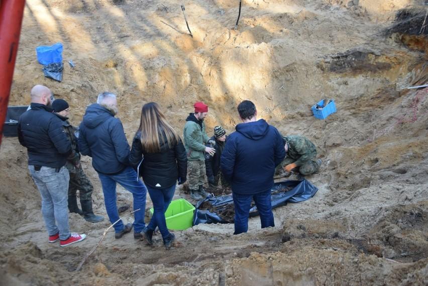 Ekshumacje zwłok pilotów samolotu znalezionych w Bieruniu...