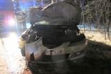 Wypadek w Jawiszowicach. 29-latek, kierujący mazdą, uderzył w drzewo. W chwili zatrzymania przez policję był pijany [ZDJĘCIA]