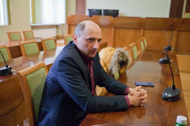 Sławomir Kołodziej, prezes BZUK, na posiedzeniu komisji rewizyjnej, 8 I 2019