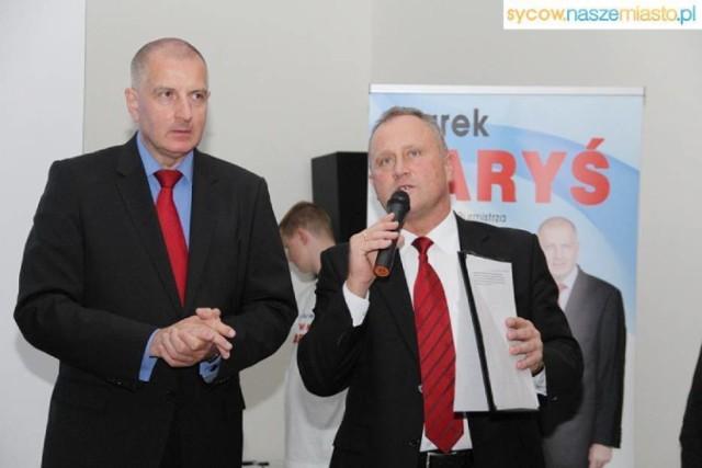 Marek Laryś (z prawej) z prezydentem Wrocławia Rafałem Dutkiewiczem