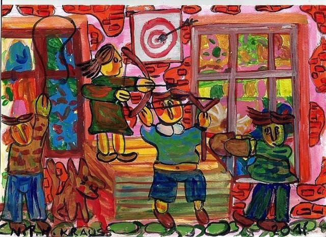 """Obraz PT """" Krakowskie Podwórko - Chuligani """" Jest to pierwsza seria której okna zostały pomalowane przez Natalię Pietrzak Krauss . foto . Marek Krauss"""