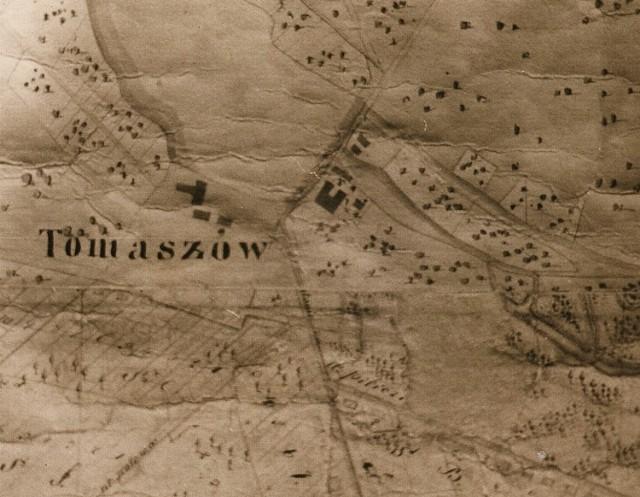 Osada Tomaszów na mapie z 1812 roku. Zbiory AGAD w Warszawie