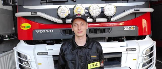 st. str. Sebastian Matuszewski, funkcjonariusz Państwowej Straży Pożarnej w Mogilnie.