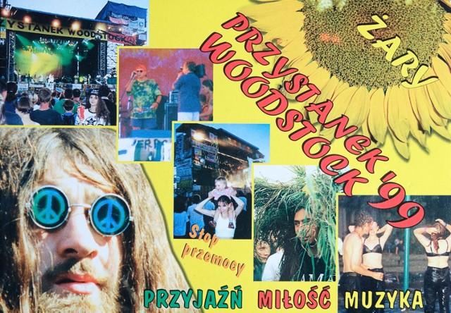 Pocztówki z Przystanku Woodstock w Żarach z 1999 roku.