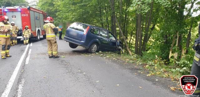Wypadek na drodze wojewódzkiej 212 w miejscowości Wolność koło Chojnic
