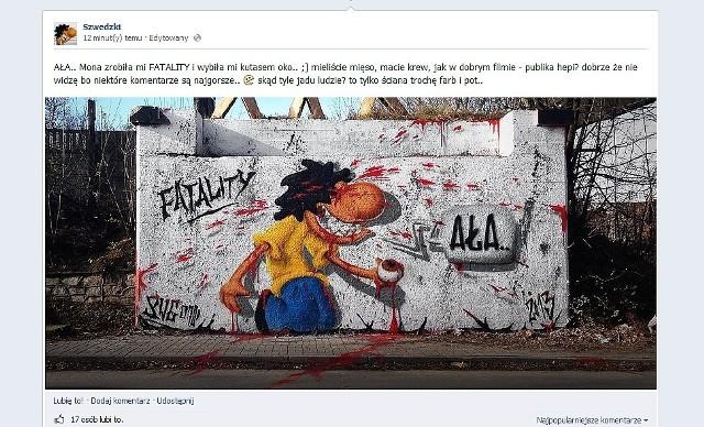 """""""Fatality"""" na Szwedzkim? Tak grafficiarz widzi to, co wcześniej """"zrobiła"""" mu Mona Tusz.  Jak oceniacie odpowiedź Szwedzkiego? Podniósł poprzeczkę? Czy Mona jeszcze zareaguje? :-)  Ps. Z nieoficjalnych doniesień wynika, że to koniec batalii na siemianowickiej ścianie. Jak informuje osoba zbliżona do środowiska obojga artystów: """"Mona i Szwedzki dogadali się już wczoraj #potwierdzoneinfo przybili piątki pod ścianą i wrócili do swych zajęć."""""""
