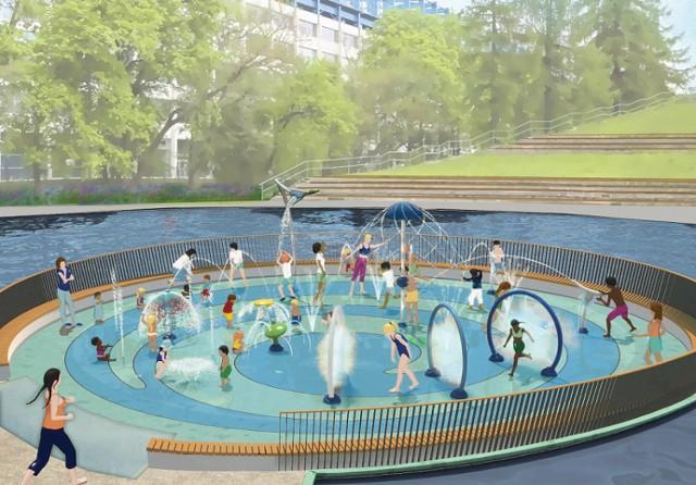 Wizualizacja wodnego placu zabaw w parku Jordana