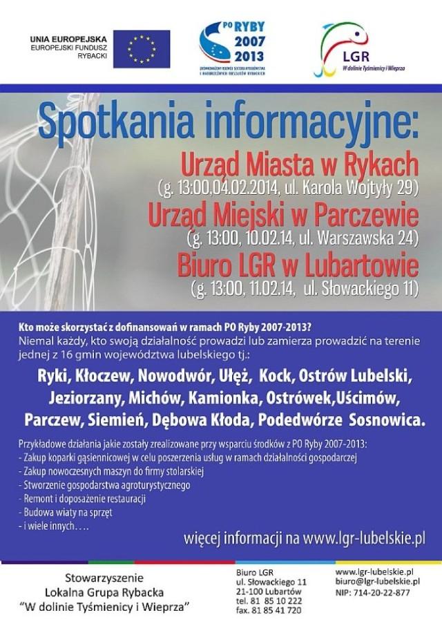 Lokalna Grupa Rybacka w Lubartowie zaprasza na spotkanie poświęcone unijnym dotacjom.