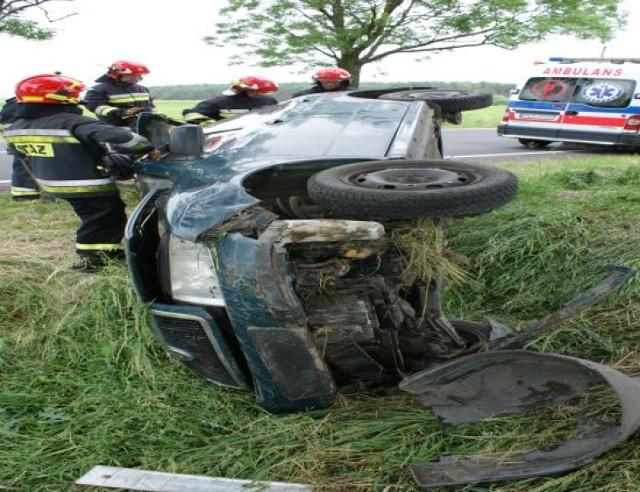 Wypadek Kobylin - Dachowanie