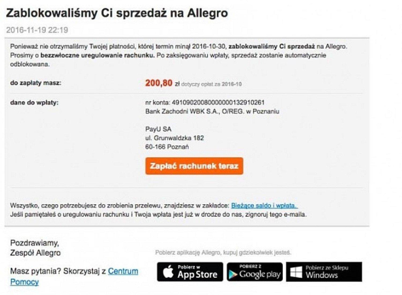 Uwaga Na Falszywe Maile Od Allegro Z Nakazami Zaplaty Warszawa Nasze Miasto