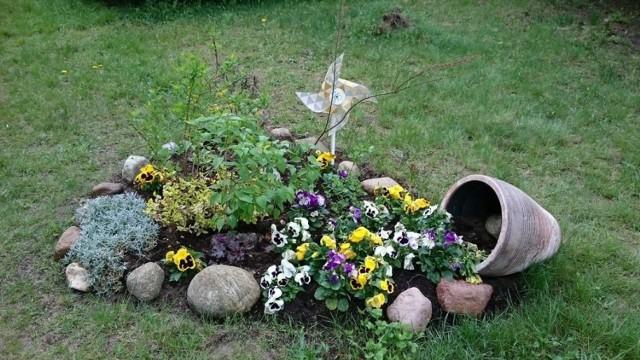 Uczniowie Zespołu Szkół Ekologicznych samodzielnie dbają o barwne kwietniki.