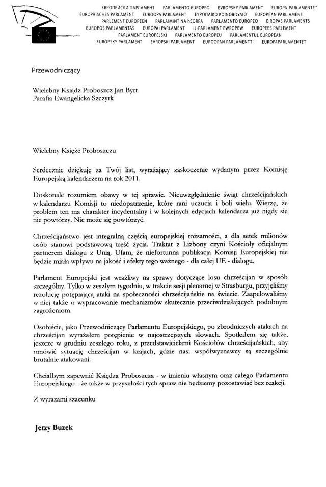 Screen pisma Przewodniczącego Parlamentu Europejskiego Jerzego Buzka.