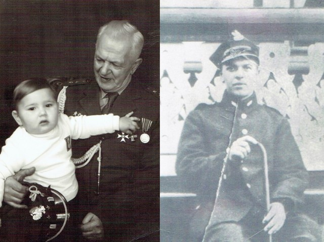 Po lewej: Władysław Matecki z wnukiem Przemysławem w 1975 r., po prawej - Władysław Matecki w czasie służby (na leczeniu)