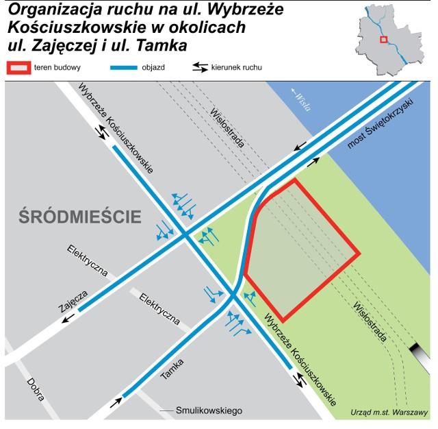 Organizacja ruchu na ul. Wybrzeże Kościuszkowskie w okolicach ul. Zajęczej i ul. Tamka
