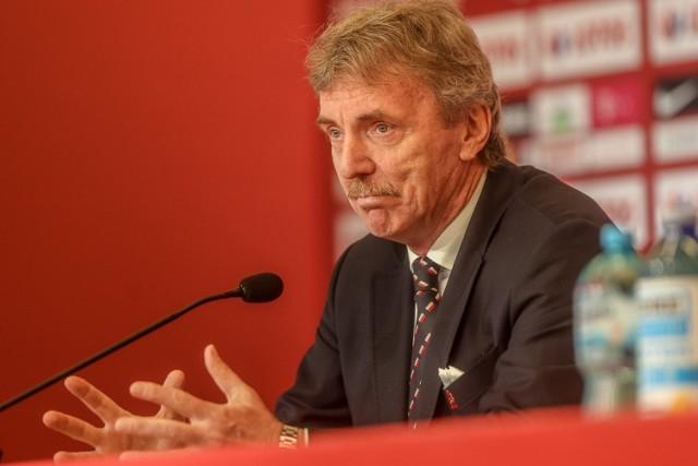Zbigniew Boniek w centrum prasowym na stadionie w Gdańsku podczas konferencji prasowej podsumowującej nieudane Euro 2020 (24.06.2021)