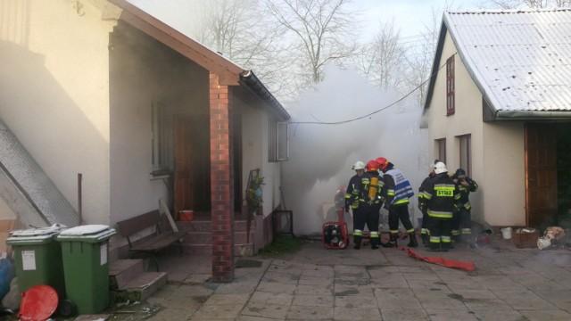 Pożar domu w Grabinie