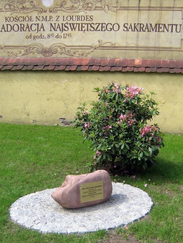 Kamień i rododendron poświęcone pamięci Krystyny Bochenek