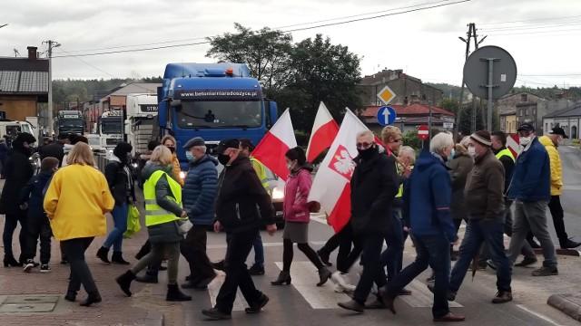 Blokada drogi krajowej nr 12 w Sulejowie, 14 października 2020