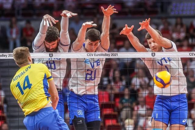 W Ergo Arenie Rosjanie pokonali 3:1 Ukrainę w sobotnim meczu 1/8 finału siatkarskich mistrzostw Europy