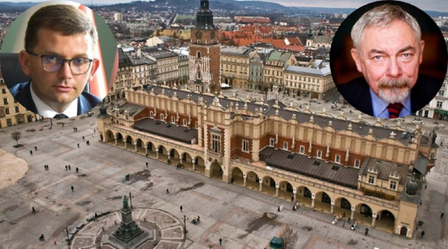 Wojewoda Małopolski Łukasz Kmita (u góry z lewej) przekonuje, że wsparcie w tej transzy i tak byłoby dla Krakowa niezauważalne. Co na to prezydent Jacek Majchrowski?
