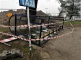 Demolka pod dworcem w Goleniowie. Wiata dla podróżnych zniszczona