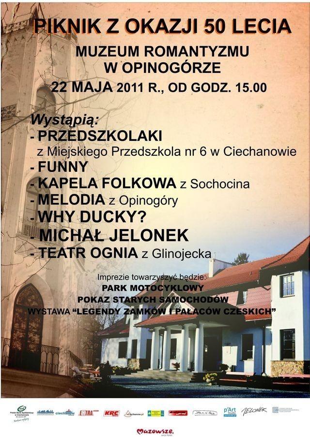 Plakat pikniku z okazji 50-lecia Muzeum Romantyzmu w Opinogórze