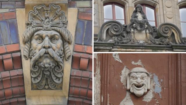 Detale architektoniczne na Pasażu Piotra i Pawła, Nowym Ratuszu i Kinie Ognisko.  Przejdź do kolejnego zdjęcia ----->>>