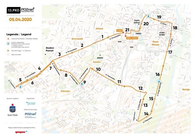 Tak wygląda trasa 13. PKO Poznań Półmaratonu, zaplanowanego tym razem w niedzielę, 5 kwietnia