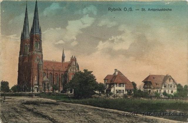 Bazylika św. Antoniego dawniej (Ze zbiorów Marka Gruszczyka Źródło: www.rybnik.pl)