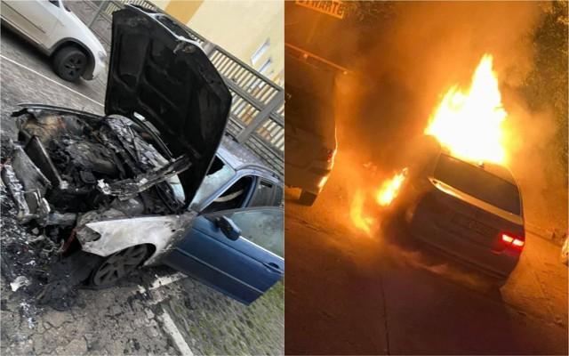 Pożar samochodów BMW we Włocławku