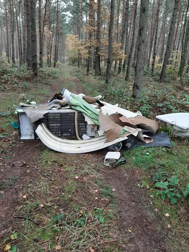 Śmieci w lesie. Ktoś zostawił odpady między Kozłowem a Strzyżewem Paczkowym