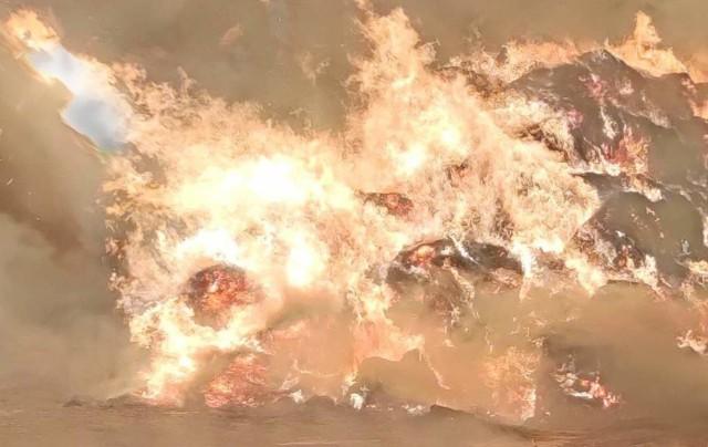 Pożar stogu siana w Łagowie (gmina Dąbie).
