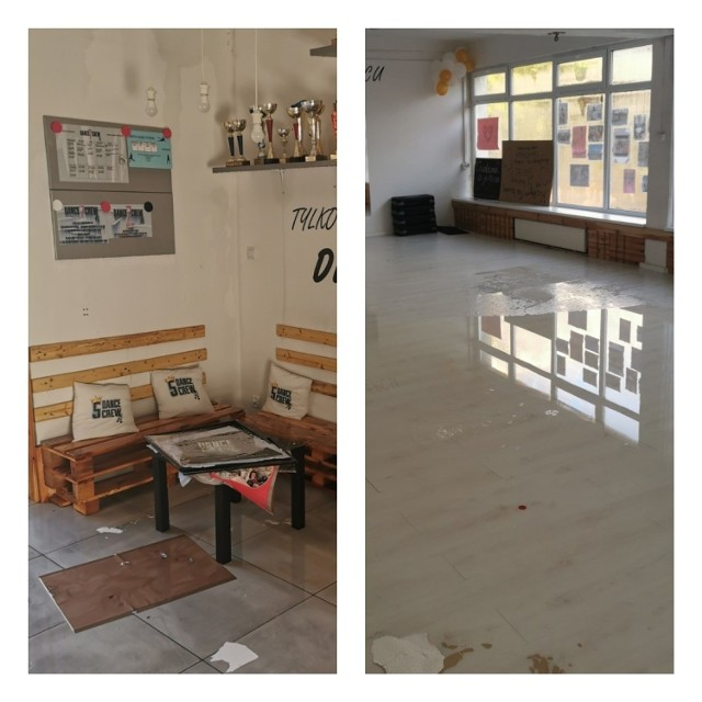 W sobotę w Szkole Tańca Dance Crew w Bydgoszczy pękła rura. Woda zalała wszystkie pomieszczenia. Straty to kilkadziesiąt tysięcy złotych. By instruktorzy mogli prowadzić tam zajęcia, konieczny jest generalny remont.