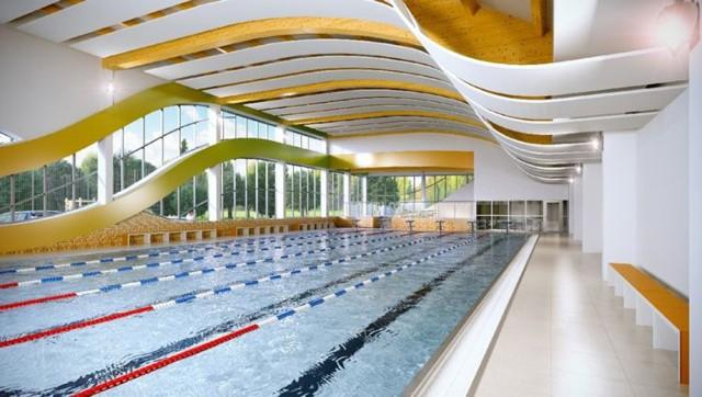 Basen sportowy o zmiennej głębokości 1,20-1,80 m i wymiarach 25x12,5 m będzie miał sześć torów pływackich, wyposażonych w bloki startowe