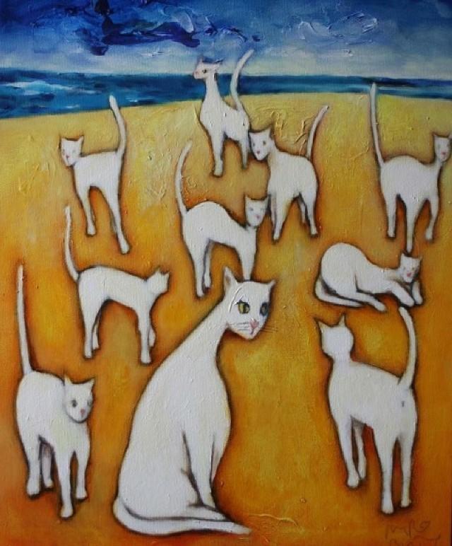 60 prac do wylicytowania na IX Aukcji Nowej Sztuki Domu Aukcyjnego Art in House w Sopocie.  Miro Biały, Koty na plaży