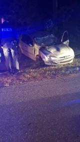 Wypadek w gminie Przedbórz. Samochód dachował, 21-letni kierowca pijany