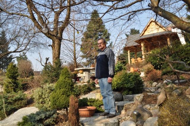 Czesław Herok w najpiękniejszym wodzisławskim ogrodzie